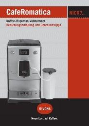 CafeRomatica Bedienungsanleitung und Gebrauchstipps ... - Nivona