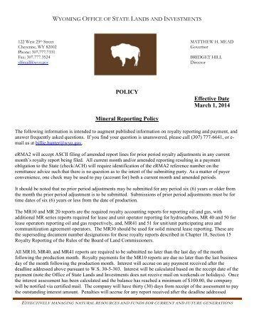 Mineral Reporting Policy - Wyoming State Lands