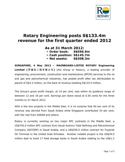 Rotary Engineering posts S$133 4m revenue for     - Investor Relations