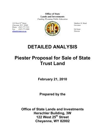 Proposal for Sale - Wyoming State Lands