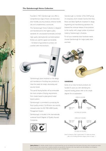The Gainsborough Home Collection - Door Hardware Sydney