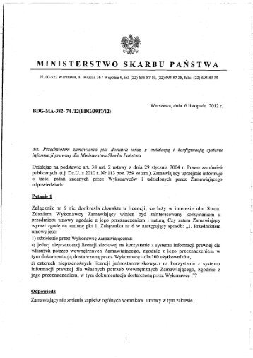Odpowiedzi na pytania - Ministerstwo Skarbu Państwa