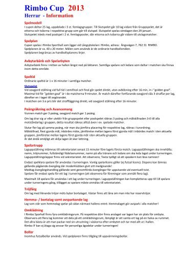 Rimbo Cup 2013 Herrar - Information - Rimbo IF
