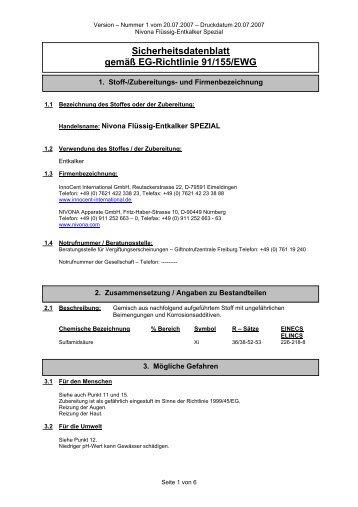 Sicherheitsdatenblatt gemäß EG-Richtlinie 91/155/EWG - Nivona