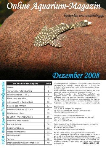 OAM Ausgabe Dezember 2008 - Online Aquarium-Magazin