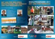 Ziele für die Gesamt-Gemeinde Rimbach im ... - CDU Rimbach