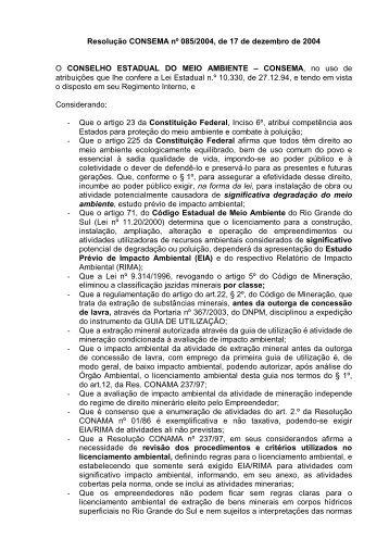 Resolução CONSEMA nº 085/2004, de 17 de dezembro de ... - Fepam