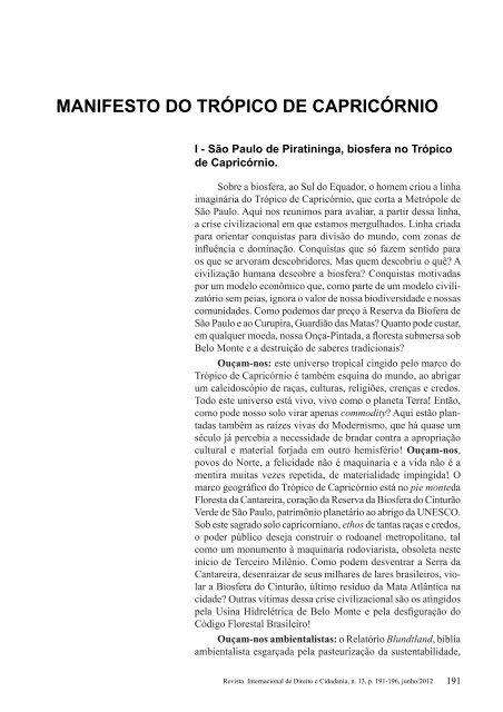 manifesto do trópico de capricórnio - revista internacional direito e ...