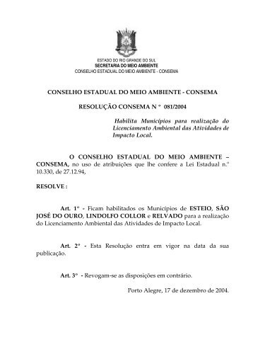 Resolução 081 de 2004 - Fepam