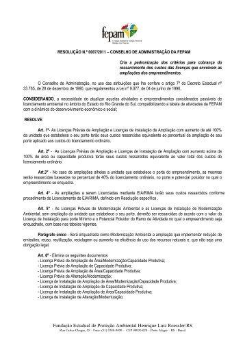 Resolução nº 007-2011 - Licença Ampliação - Fepam