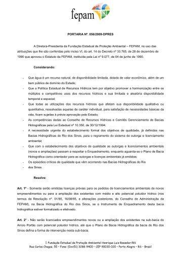 PORTARIA n º 56-2009 - Fepam