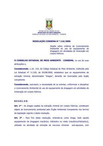 Resolusão CONSEMA N º 116/2006 - Fepam