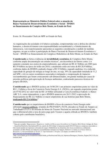 1 Representação ao Ministério Público Federal sobre a ... - Xingu Vivo