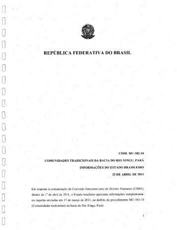 Resposta do governo brasileiro à medida cautelar da ... - Xingu Vivo