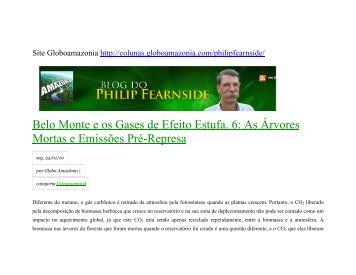 Belo Monte e os Gases de Efeito Estufa. 6: As Árvores ... - Xingu Vivo