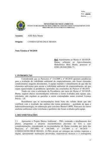 Nota Técnica n. 4/2010 do IBAMA sobre ... - Xingu Vivo