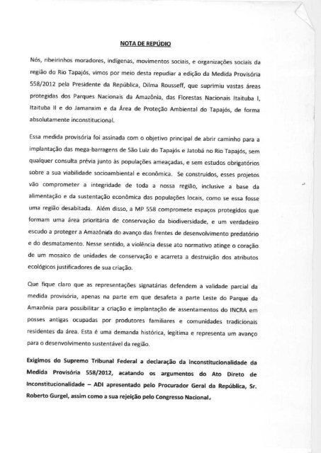 nota - Xingu Vivo