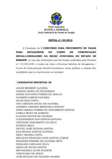 Edital nº 3/2012, homologação de inscrições - JFSE