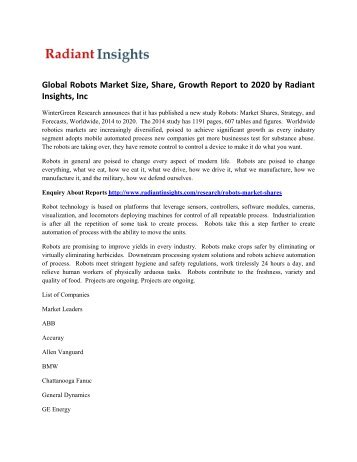 Latest Report - Global Robots Market Size, Growth Trends, 2020: Radiant Insights, Inc