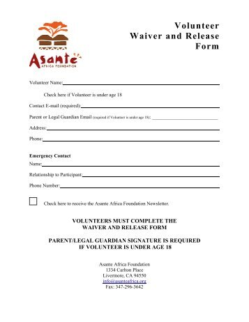 Download our Volunteer Waiver form - Dunwoody Nature Center