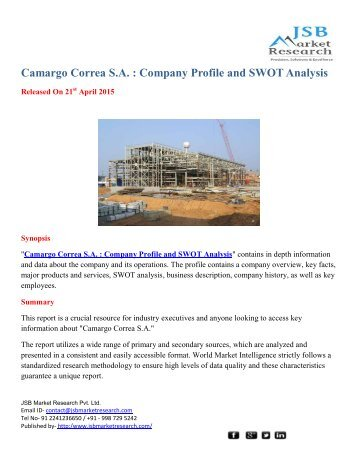 JSB Market Research: Correa S.A. : Company Profile and SWOT Analysis