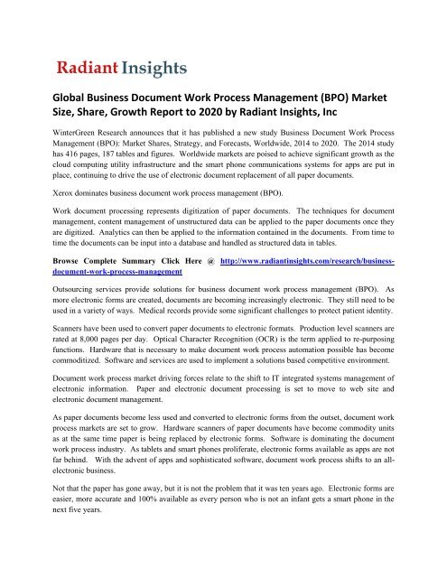 Global Business Document Work Process Management (BPO) Market Growth
