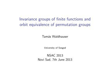 Invariance groups of finite functions and orbit equivalence of ...