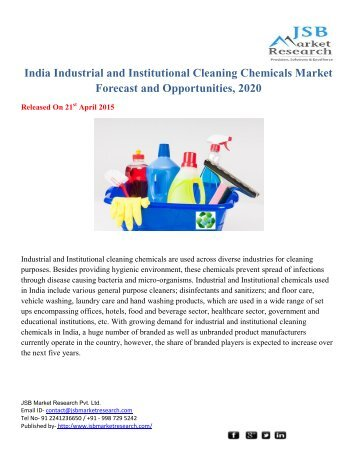 JSB Market Research: India Industrial and Institutional Cleaning Chemicals Market Forecast and Opportunities, 2020