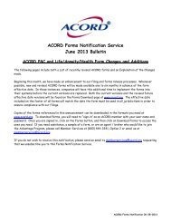 ACORD Forms Notification Service June 2013 Bulletin