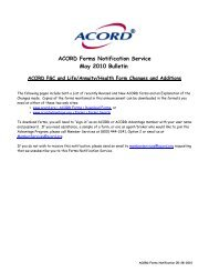ACORD Forms Notification Service May 2010 Bulletin