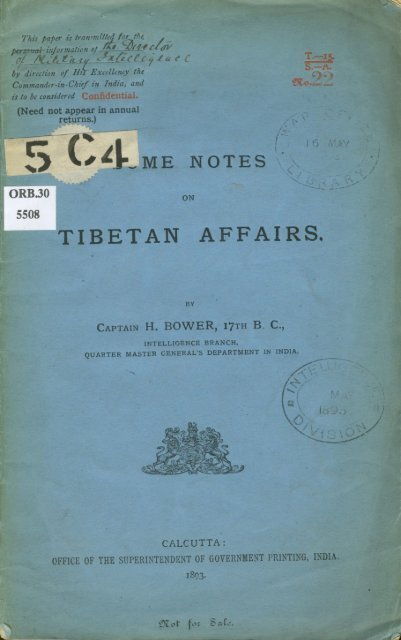 Some Notes on Tibetan Affairs - Early Tibet
