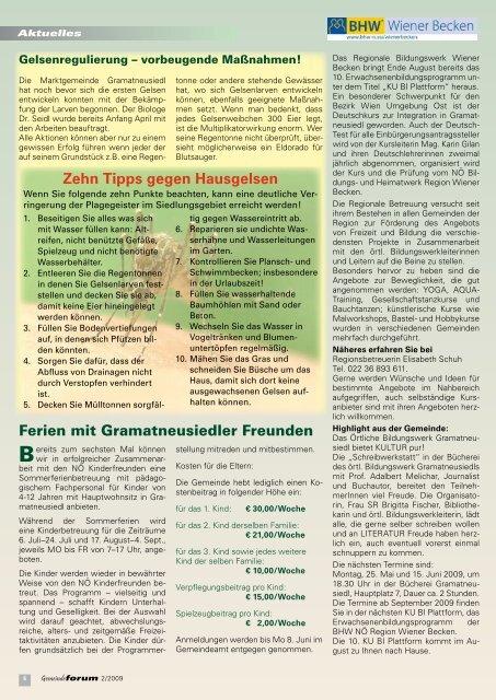 Gemeindeforum 2/09 (3,69 MB) - Marktgemeinde Gramatneusiedl