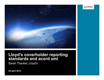 XML for Binding Authorities - Acord