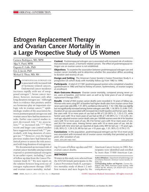 Estrogen Replacement Therapy And Ovarian Cancer Mortality In A