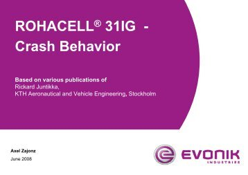ROHACELL® 31IG - Crash Behavior