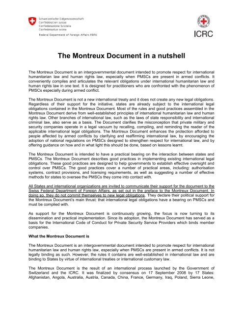 The Montreux Document in a nutshell