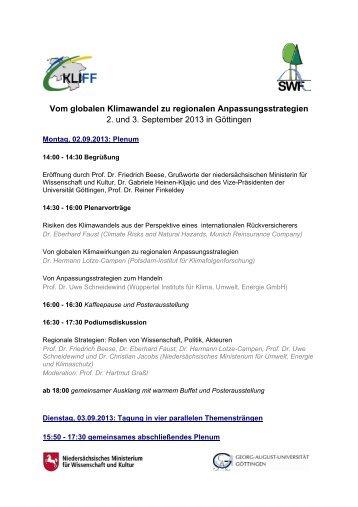 Programm KLIFF-Tagung 2. und 3.9.2013