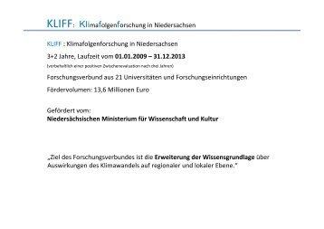 """KLIFF: Klimafolgenforschung in Niedersachsen """"Ziel des ... - GWDG"""