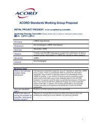 ACORD Standards Working Group Proposal