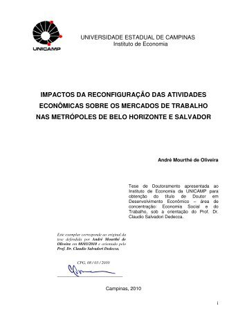 impactos da reconfiguração das atividades econômicas sobre os ...
