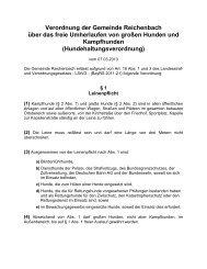 Hundehaltungsverordnung - Gemeinde Reichenbach