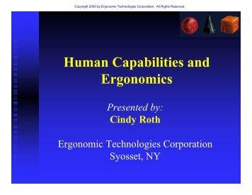 Human Capabilities and Ergonomics - Ergonomic Technologies ...