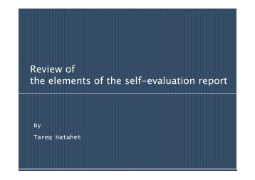 Review of Elements of SAR - Tempus Accreditation