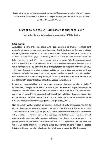 Libre choix de quoi et par qui - Université de Genève