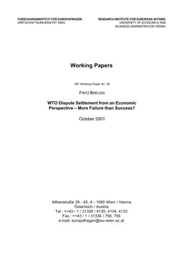 WTO Dispute Settlement from an Economic Perspective – More