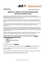 Update on Jetstar's Far North Queensland services (Cyclone Yasi)