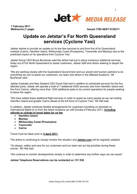 Update on Jetstar's Far North Queensland services (Cyclone Yasi)