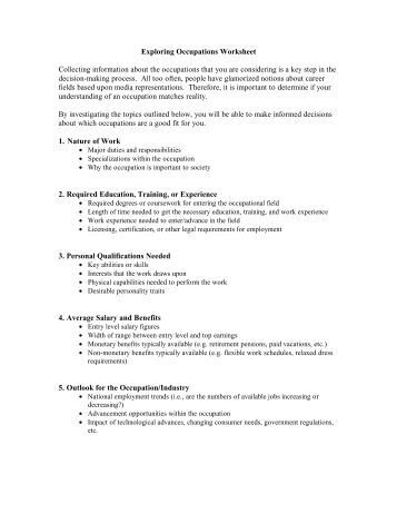 Exploring Occupations Worksheet Collecting information about the ...