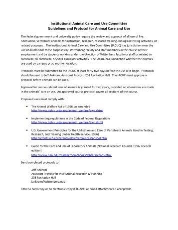 IACUC proposal - Wittenberg University