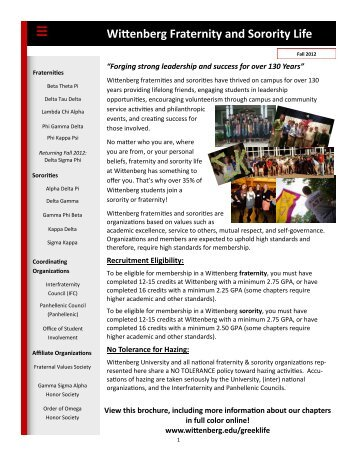 Wittenberg Fraternity and Sorority Life - Wittenberg University
